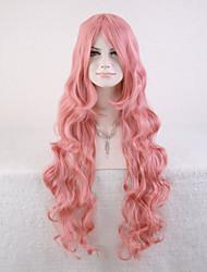 sem tampa alta cor-de-rosa de qualidade peruca sintética encaracolado naturais
