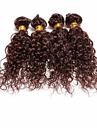 4pcs Brazilian Deep Curl Hair Bundles Weaves Chocolate Brown 100% Unprocessed Brazilian Human Hair Weft