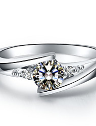 0.5CT Solitarie Engagement Ring Star Twist Brilliant SONA Diamond Female Sterling Silver Jewelry Bridal Prongs