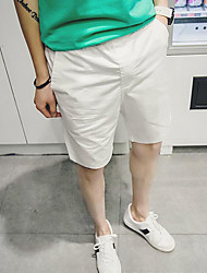 Men's Solid Casual Shorts,Cotton Black / Blue / Orange / White / Yellow