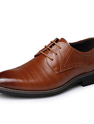 Men's Shoes Cowhide Party & Evening Oxfords Party & Evening Walking Low Heel Lace-up Black / Blue / Brown / Yellow