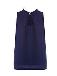 Women's Going out Simple / Street chic Blouse,Solid Halter Sleeveless Blue Polyester Thin
