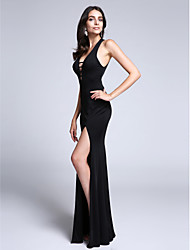 2017 TS Couture® Formal Evening Dress Sheath / Column V-neck Watteau Train Jersey with Split Front