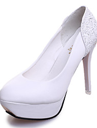 Women's Shoes Leatherette Fall Heels / Round Toe Heels Office & Career / Casual Stiletto HeelSparkling Glitter