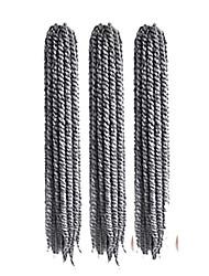 12-24 inch Crochet Braid Havana Mambo Afro Twist Hair Extension Black Grey with Crochet Hook