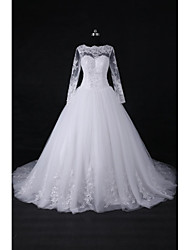 2017 Ball Gown Wedding Dress Court Train Jewel Lace / Tulle with Appliques / Beading / Sequin