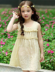 Girl's Casual/Daily Solid Dress,Cotton Summer Pink / Purple / Yellow