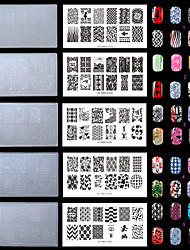 5PC/SET Plastic White Environmental  Lovely Nail Stamping Plates with Fashion Pattern. (KD-SM612-001-002-003-004-005)