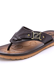 Men's Slippers & Flip-Flops Comfort PU Summer Casual Comfort Flat Heel Black Brown Blue