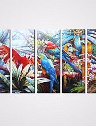 5 Panels Modern Landscape Painting Parrot Picture Print on Canvas Birds Painting for Wall Decoration Unframed