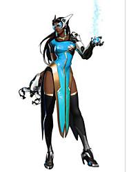 Inspirado por Overwatch Symmetra Anime Fantasias de Cosplay Ternos de Cosplay Cor Única Azul Manga Curta Camisa / Vestido
