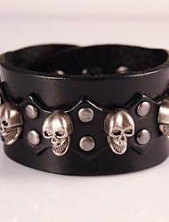 Skull Genuine Leather Jewelry Punk Handmade Classic Vintage High Quality Bracelets
