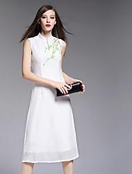 BOMOVO® Women's Stand Short Sleeve Tea-length Dress-B16XQJ2