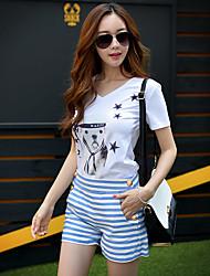 Pink Doll® Women's Print V Neck Short Sleeve T Shirt White-X15BTS122