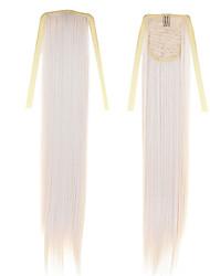 дешевые блондинка прямой хвост 50см 22inch 100g # 60drawstring конского хвостика наращивание волос синтетические хвостики длинные