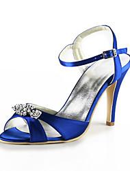 Dames Zomer Hoge hakken / Open neus Zijde Huwelijk / Formeel / Feesten & Uitgaan Stilettohak Sprankelend glitter / UitgeholdZwart / Blauw