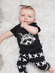 Baby Casual/Daily Animal Print Clothing Set-Cotton-Summer-Black