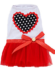 Dog Dress Red / Purple / Pink Dog Clothes Summer Hearts