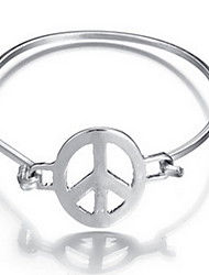 Alloy Peace Natural Stone Gem Adjustable Cuff Bangle Bracelet