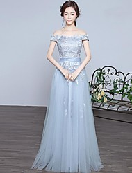 Formal Evening Dress A-line Off-the-shoulder Floor-length Lace / Satin / Tulle with Cascading Ruffles
