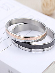 Silver Stainless Steel LOVE Leatter Bangle Bracelet