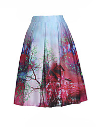 Women's Print A Line High Rise Swing Pleated Bubble Skirts,Vintage / Boho Knee-length