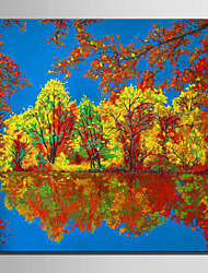 Mini Size E-HOME Oil painting Modern Maple Lake Scenery Pure Hand Draw Frameless Decorative Painting