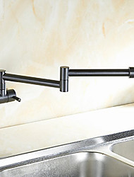 Contemporary/Modern Oil-rubbed Bronze Centerset Rotatable Widespread Pull-out Brass Kitchen faucet