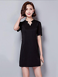 Women's Casual/Daily / Plus Size Simple A Line Dress,Solid V Neck Mini Short Sleeve Black / Gray / Purple Polyester Summer