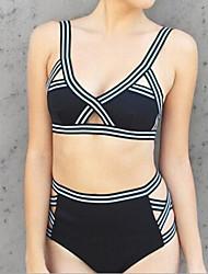 Bikinis Aux femmes Bandage Licou Nylon / Spandex