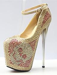 Women's Shoes Stiletto Heel Round Toe Heels Dress Gold