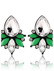 Water Droplets Shape Crystal Fresh And Elegant Green Earrings
