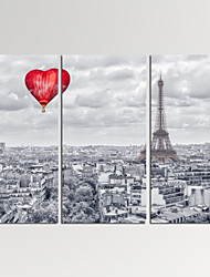 VISUAL STAR®3 Panel Paris Photos Print on Canvas Wall Decoration Cityscape Canvas Artwork Ready to Hang