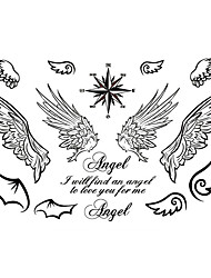 5PCS Fashion Angel Wings Body Art Waterproof Temporary Tattoos Sexy Tattoo Stickers (Size: 3.74'' by 5.71'')
