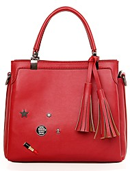 Women PU Formal / Casual / Office & Career / Shopping Tote Red / Black
