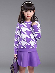 Girl's Casual/Daily Jacquard Sweater & Cardigan / Clothing Set,Cotton Spring / Fall Pink / Purple / Red