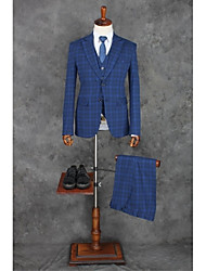 2017 Suits Slim Fit Notch Single Breasted Two-buttons Polyester Stripes 3 Pieces Blue Straight Flapped Black