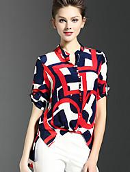 Women's Print Red Shirt,Shirt Collar Short Sleeve