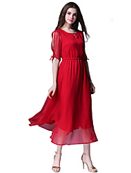Women's Casual/Daily Simple Sheath / Chiffon Dress,Solid Round Neck Midi ½ Length Sleeve Red / Black Linen