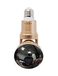 Wireless Bulb IP Camera with Rotable Body and Mirror Cover + Remote Control White LED  Light  Silver