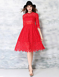 Women's Casual/Daily Simple  Dress,Jacquard Crew Neck Knee-length ½ Length Sleeve Red Acrylic / Polyester Fall