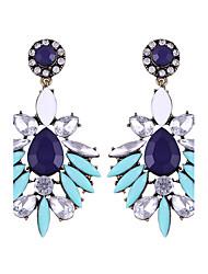 Bohemia Exaggerated Retro Luxury Gem Big Colorful Rhinestone Hyperbole Earrings