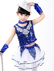 Latin Dance Outfits Children's Performance Rayon Sequins 2 Pieces  Latin Dance Sleeveless Natural Top / Skirt