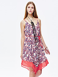 HEARTSOUL Women's Going out Cute Loose Dress,Floral Strap Above Knee Sleeveless Red Polyester