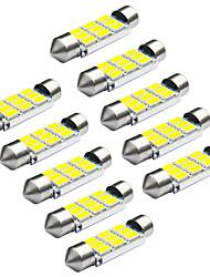 Jiawen 10pcs / lot feston 39mm 1.8W 9 x 5730 smd led blanche feux de signalisation de voiture (dc 12v)