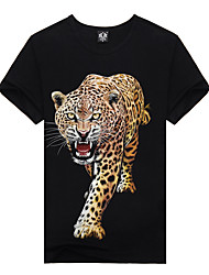Men's Exaggerated Tigers Punk Print Cotton Graffiti 3D Tie-dyed Short Sleeve T-shirts