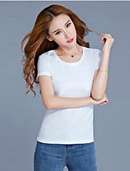 Solide Einfach Lässig/Alltäglich Übergröße T-shirt,Rundhalsausschnitt Alle Saisons Kurzarm Baumwolle Elasthan Dünn