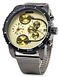 Men's Military Fashion Dual Time Zones Steel Band Quartz Watch