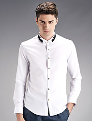 Men's Solid Casual / Work / Formal / Sport Shirt,Cotton Long Sleeve Black / White