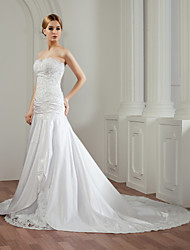 A-Line Strapless Cathedral Train Satin Wedding Dress with Beading Appliques by